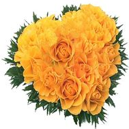 Heart of 17 yellow roses - flowers and bouquets on flora.od.ua
