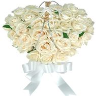 Heart of 37 white roses - flowers and bouquets on flora.od.ua