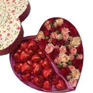 """Chocolate and flowers in a box"" in the online flower shop flora.od.ua"