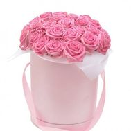 25 розовых роз в коробке - цветы и букеты на flora.od.ua