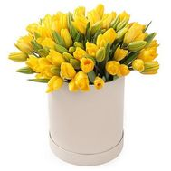 35 yellow tulips in a box - flowers and bouquets on flora.od.ua