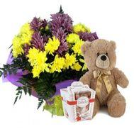 7 хризантем мишка и конфеты - цветы и букеты на flora.od.ua