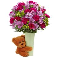 """Bouquet of alstroemerias with a bear"" in the online flower shop flora.od.ua"