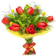 """Bouquet of tulips and mimosa"" in the online flower shop flora.od.ua"