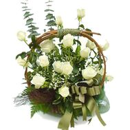 Basket of white roses - flowers and bouquets on flora.od.ua