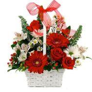 Корзина гербер и роз - цветы и букеты на flora.od.ua