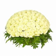 Basket of 101 white roses - flowers and bouquets on flora.od.ua