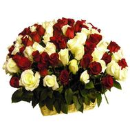 Basket of 101 red and white roses - flowers and bouquets on flora.od.ua