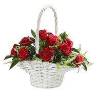 Basket of 11 roses - flowers and bouquets on flora.od.ua