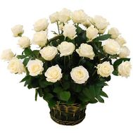 Basket of 29 white roses - flowers and bouquets on flora.od.ua