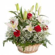 Basket of roses and lilies - flowers and bouquets on flora.od.ua