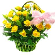 Basket of yellow roses - flowers and bouquets on flora.od.ua