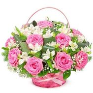 Basket of roses and alstromeries - flowers and bouquets on flora.od.ua