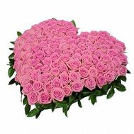 Heart of 101 pink roses - flowers and bouquets on flora.od.ua