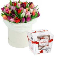 A chic bouquet of 45 tulips in a box - flowers and bouquets on flora.od.ua