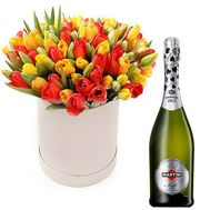 Tulips in a box with champagne - flowers and bouquets on flora.od.ua