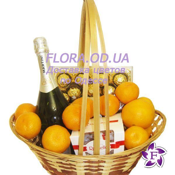 """883a8fa8bf77 """"Подарочная корзина с шампанским и фруктами"""" в интернет-магазине цветов  flora.od"""