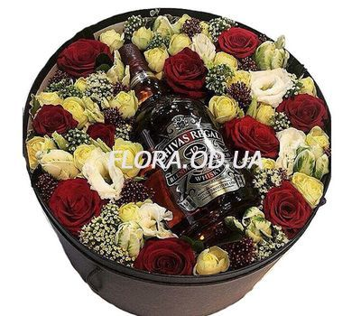 """Flowers and whiskey for men"" in the online flower shop flora.od.ua"