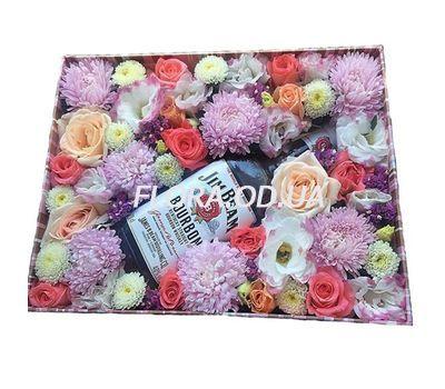 """""""Цветы и виски в коробке"""" в интернет-магазине цветов flora.od.ua"""