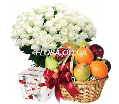 """101 white roses, fruit, Raffaello"" in the online flower shop flora.od.ua"