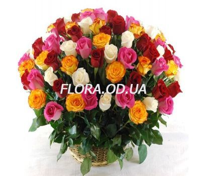 """101 multi-colored roses 60 cm"" in the online flower shop flora.od.ua"