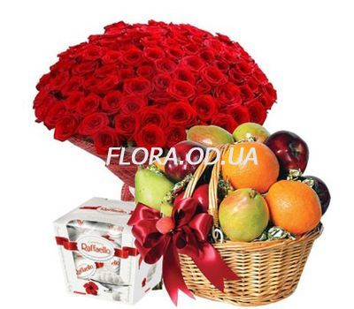 """101 roses, fruit, candy"" in the online flower shop flora.od.ua"