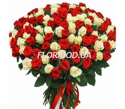 """""""101 роза красная и белая"""" в интернет-магазине цветов flora.od.ua"""