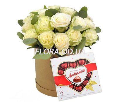 """""""21 белая роза в коробке с конфетами"""" в интернет-магазине цветов flora.od.ua"""