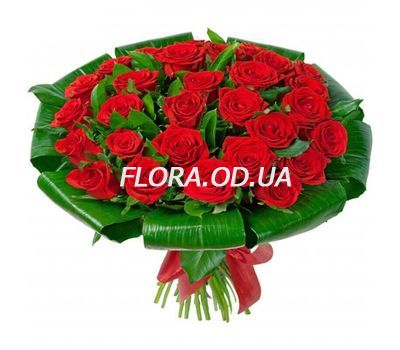 """""""25 red roses with greens"""" in the online flower shop flora.od.ua"""