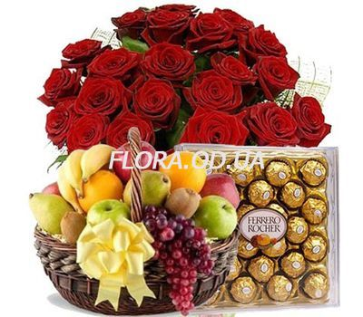 """""""25 роз, фрукты, Ferrero"""" в интернет-магазине цветов flora.od.ua"""
