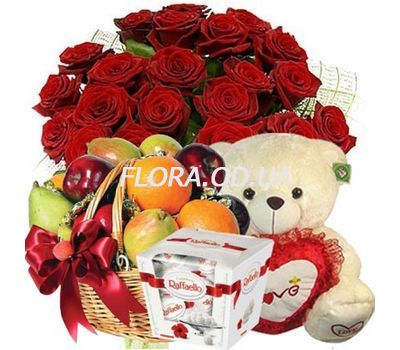 """25 roses, bear, candy, fruit"" in the online flower shop flora.od.ua"