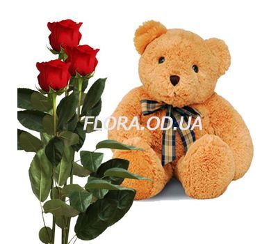 """""""3 red roses and a bear"""" in the online flower shop flora.od.ua"""