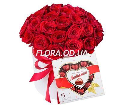 """""""35 алых роз в коробке с конфетами"""" в интернет-магазине цветов flora.od.ua"""