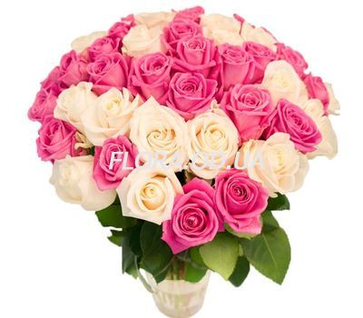 """55 white and pink roses"" in the online flower shop flora.od.ua"