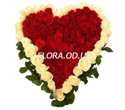 """Big heart of 101 roses"" in the online flower shop flora.od.ua"