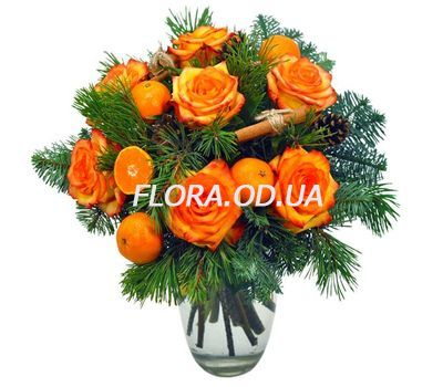 """Bouquet of flowers with tangerines and roses"" in the online flower shop flora.od.ua"
