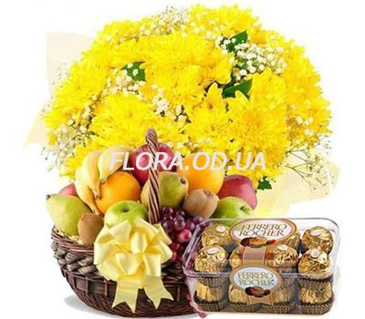 """Bouquet of chrysanthemums, fruit, Ferrero"" in the online flower shop flora.od.ua"