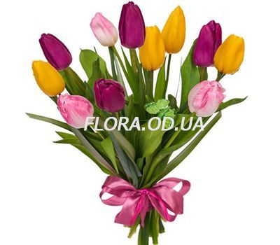 """Bouquet from 11 multi-colored tulips"" in the online flower shop flora.od.ua"