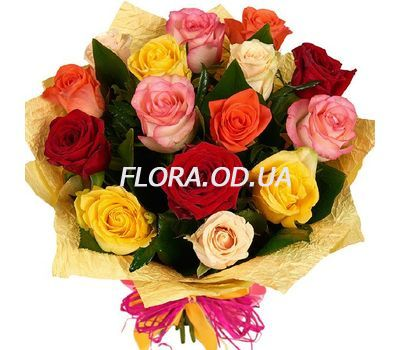 """""""Букет из 15 разноцветных роз"""" в интернет-магазине цветов flora.od.ua"""