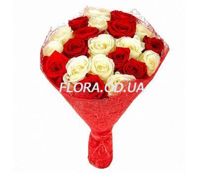 """""""Букет из 21 красной и белой розы"""" в интернет-магазине цветов flora.od.ua"""