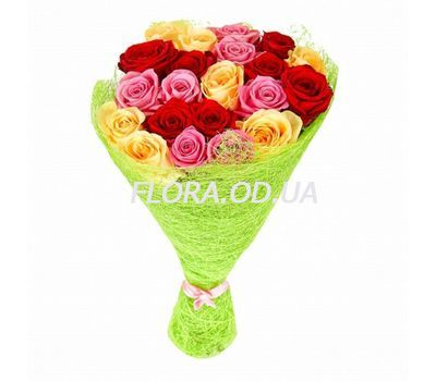 """Bouquet from 21 multi-colored roses"" in the online flower shop flora.od.ua"