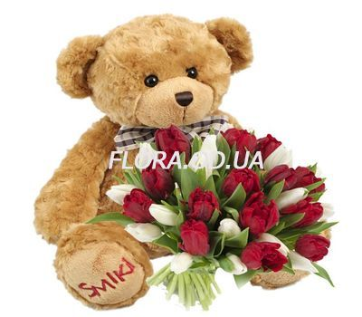 """""""Bouquet of 25 tulips and a bear"""" in the online flower shop flora.od.ua"""