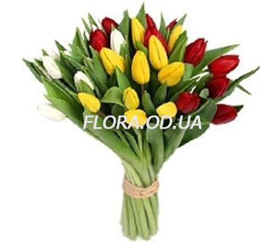 """""""Bouquet from 29 multi-colored tulips"""" in the online flower shop flora.od.ua"""