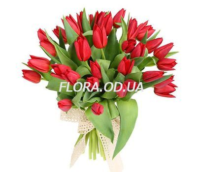 """Bouquet of 35 red tulips"" in the online flower shop flora.od.ua"