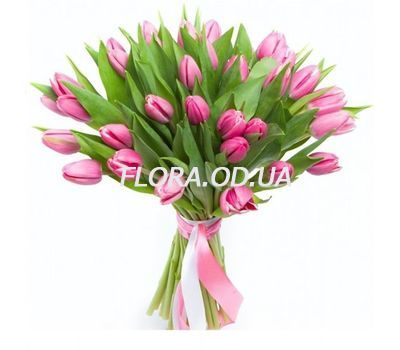 """""""Bouquet of 35 pink tulips"""" in the online flower shop flora.od.ua"""