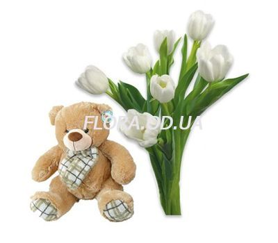 """""""Букет з 7 тюльпанів з ведмедиком"""" в интернет-магазине цветов flora.od.ua"""