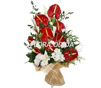 """""""Букет из хризантем и антуриума"""" в интернет-магазине цветов flora.od.ua"""