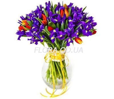 """Bouquet of irises and tulips"" in the online flower shop flora.od.ua"