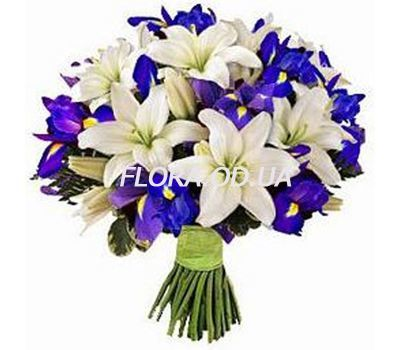 """""""Букет з лілій та ірисів"""" в интернет-магазине цветов flora.od.ua"""