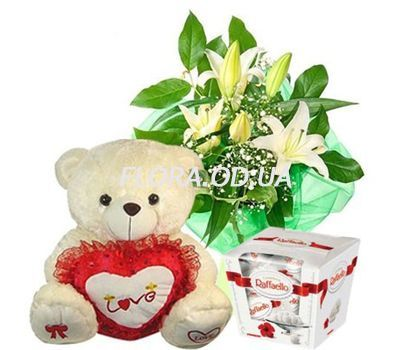"""Bouquet of lilies, teddy bear, candy"" in the online flower shop flora.od.ua"
